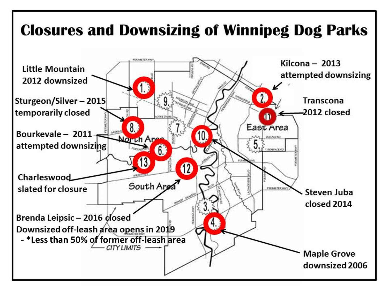 Winnipeg  Dog Parks Closed and Downsized - April 2016