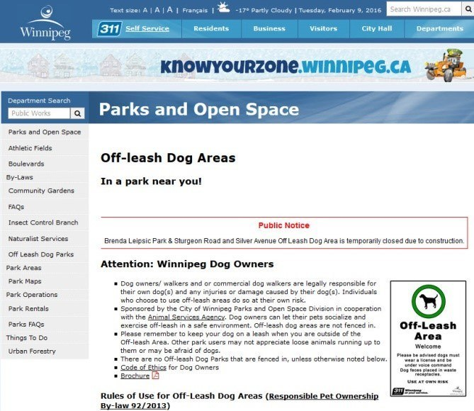 New Brenda Leipsic Dog Park City Of Winnipeg